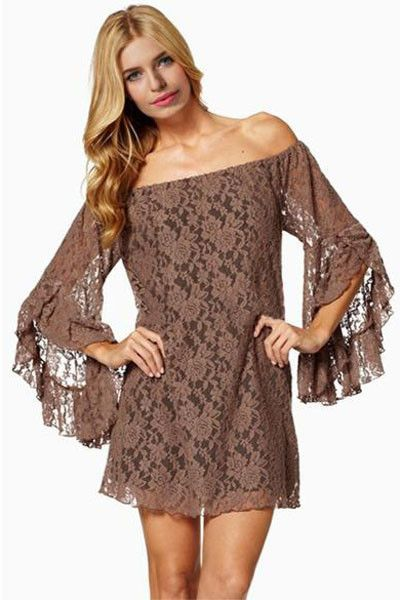 be3ee37b27a5 Coffee Sexy Off-The-Shoulder Mini Dress LAVELIQ SALE