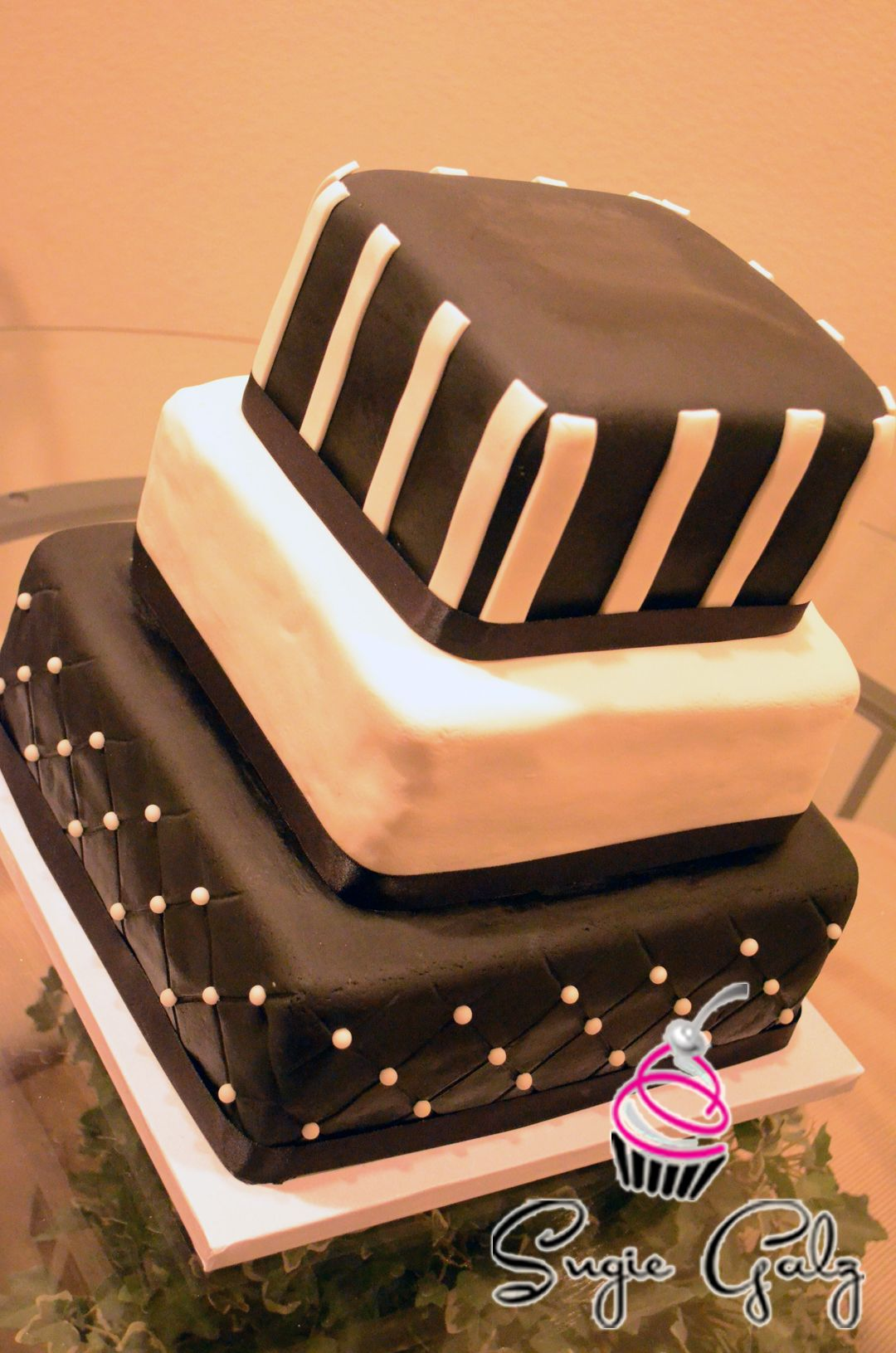 Black And White Birthday Cake By Sugie Galz In Austin Texas