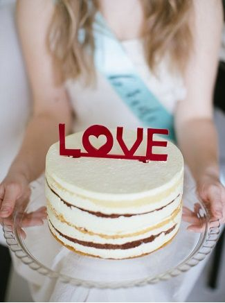 Red Love Wedding Word Cake Topper