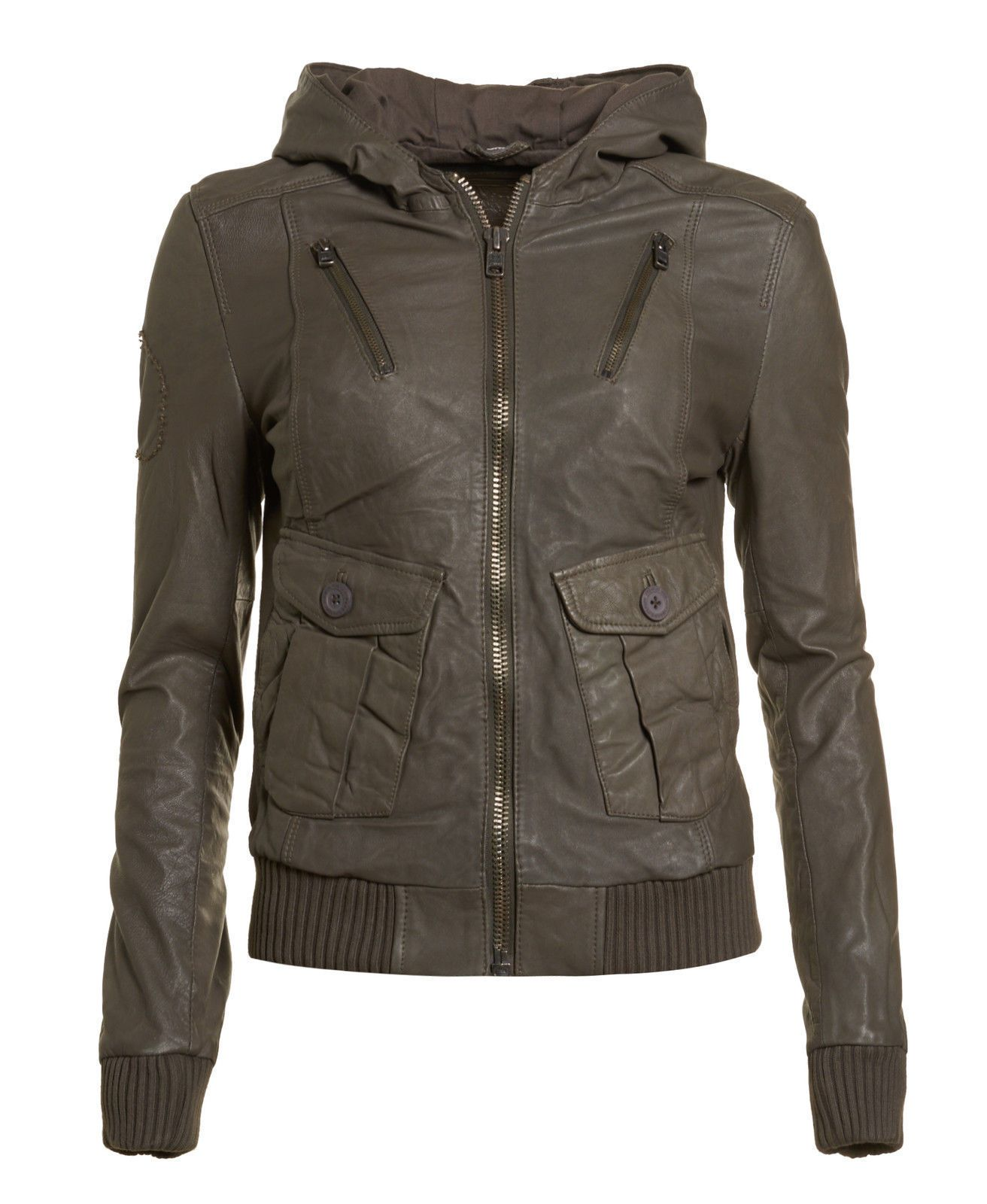 Women's Superdry Leather Hooded Brown Grey Khaki Bomber