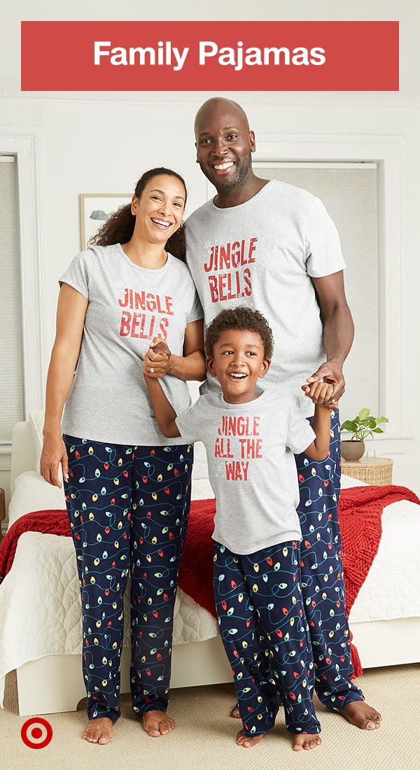 Check out Christmas pajamas, shirts & matching family outfits for winter slumber parties & cute family pictures.