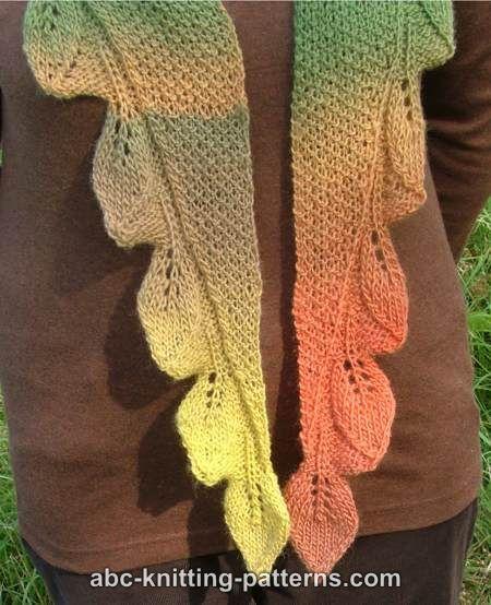 ABC Knitting Patterns - Autumn Leaves Small Triangular Shawl (Baktus ...