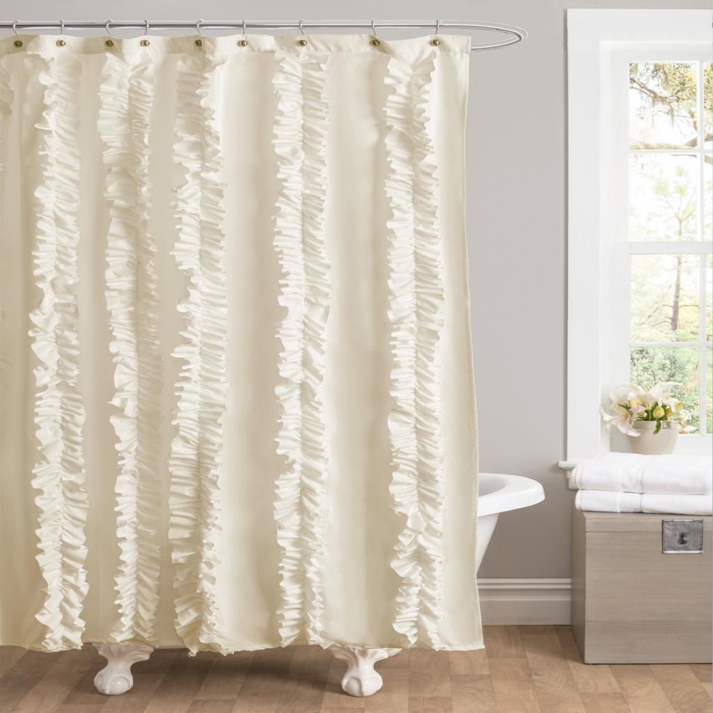 Add Feathery Texture And Luxuriant Style To Your Bathroom With The Lush Decor Belle Ivory Shower Curtain Vertical Ruffles Extend From Top Bottom Across