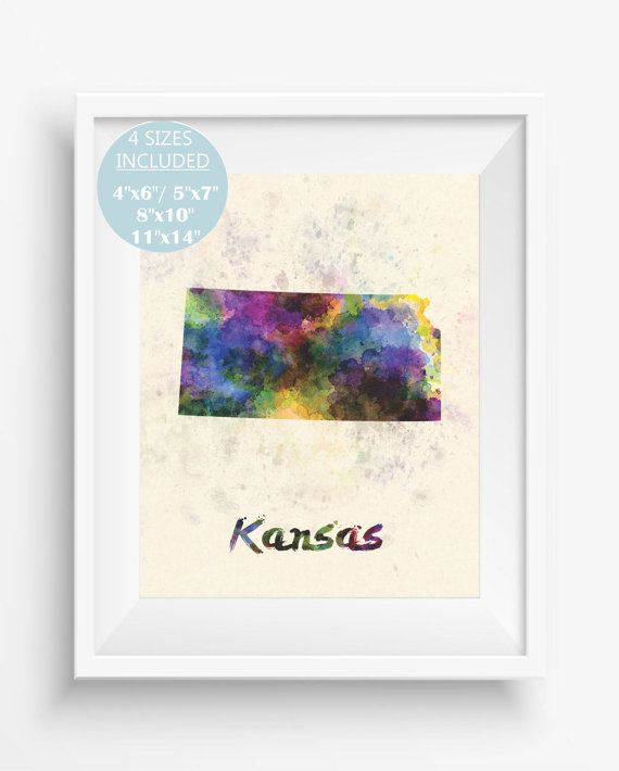 Kansas Mapkansas US StateAmericaKansas art printdigital prints