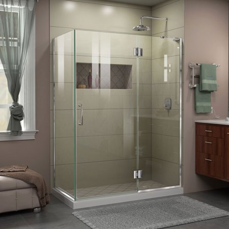 Dreamline Unidoor X 47 3 8 In W X 34 In D X 72 In H Frameless Hinged Shower Enclosure In Chrome Silver In 2020 Shower Doors Shower Enclosure Frameless Shower Enclosures