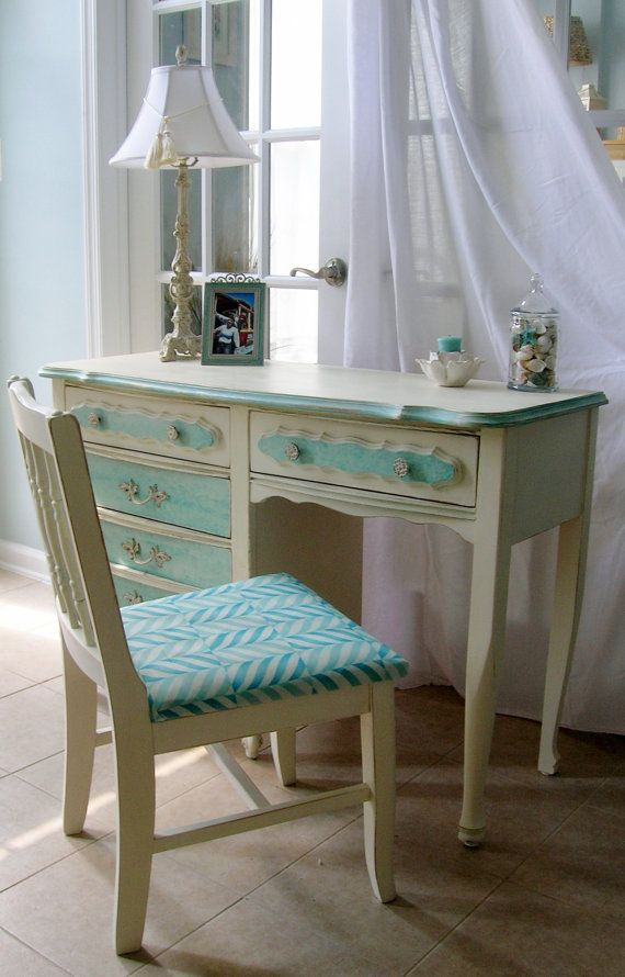 SOLDFrench Country Deskvanity And Chair Painted Furniture - French country desk