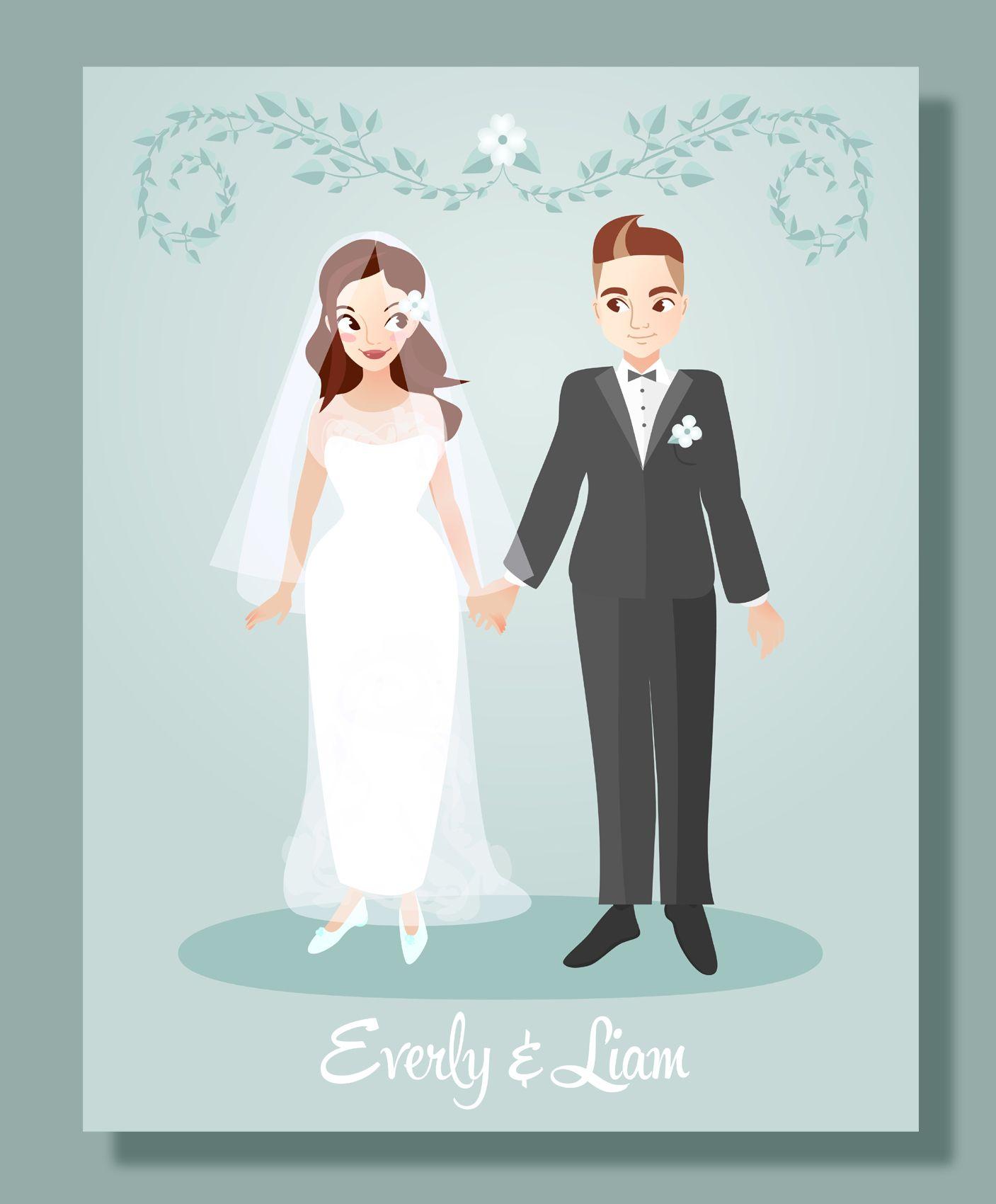 Custom Wedding Portrait Illustration Bride Gift Ideas Groom Couplecustom Portraitcustom