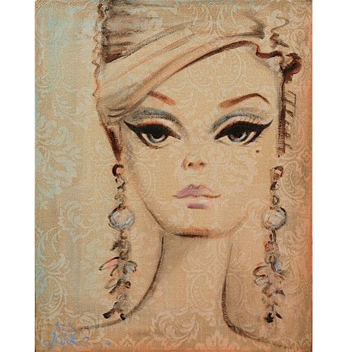 vintage barbie painting... If guys can like comics I can have a barbie pic haha