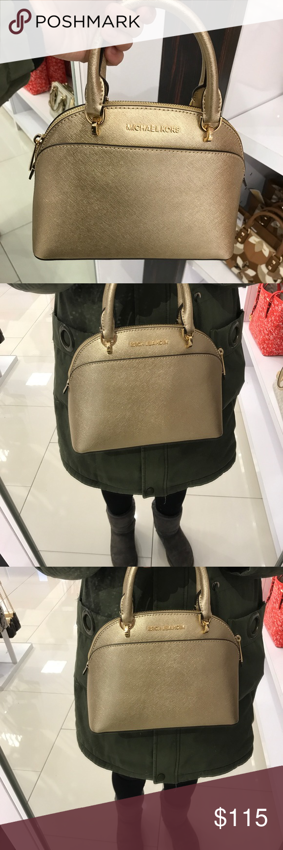 Michael Kors Emmy Small Dome Satchel Pale Gold NWT Micheal Kors Emmy Small  Dome Satchel in 968fad0d2bf66