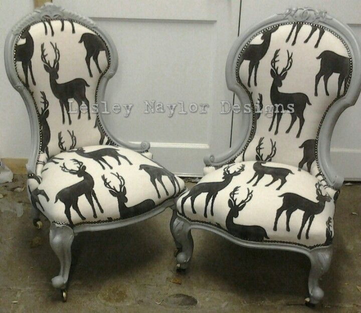 Fabulous stag fabric on victorian slipper chairs.