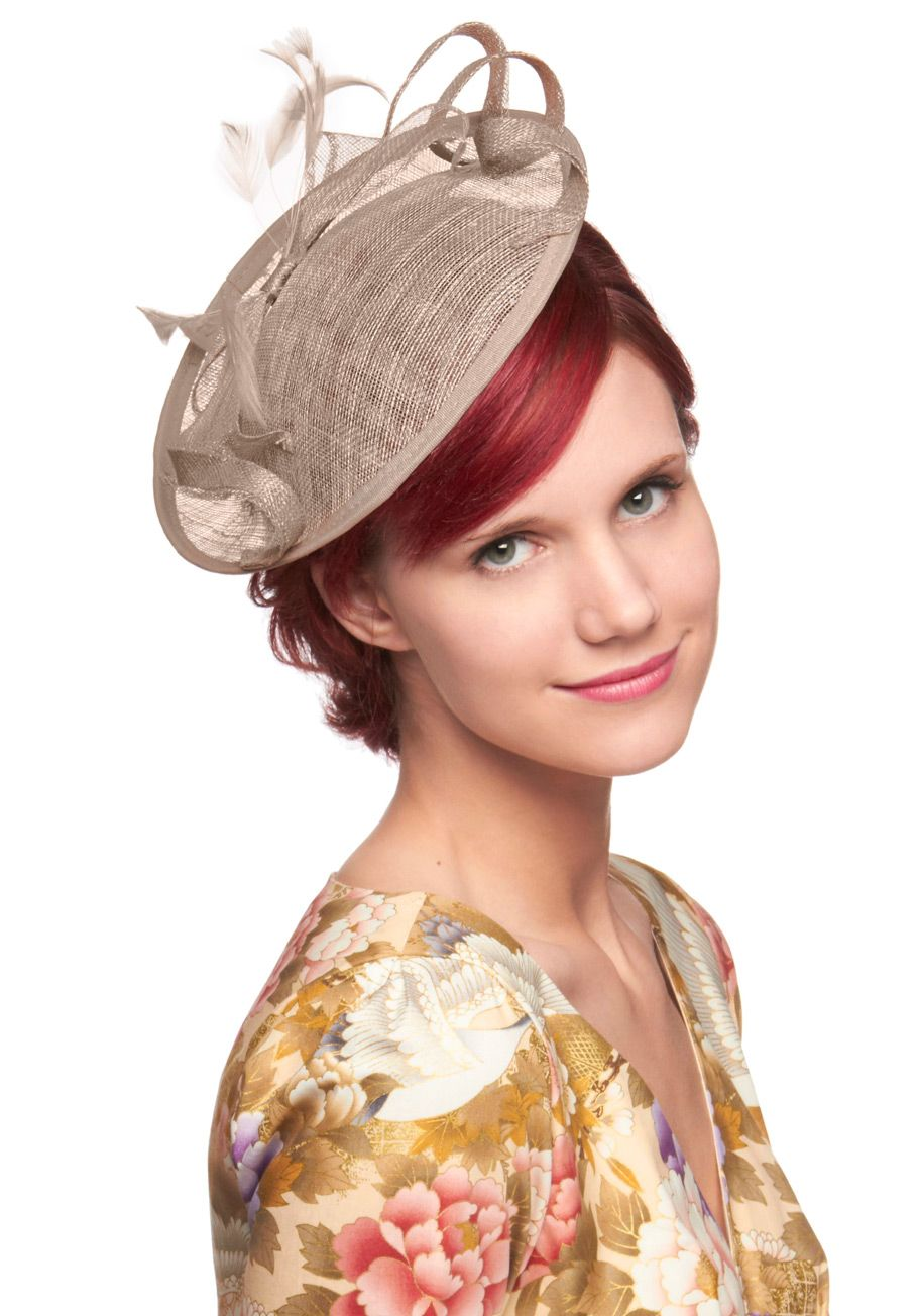 3db4aa2f07bad Greg Bourdy Taupe Wedding Hats And Fascinators