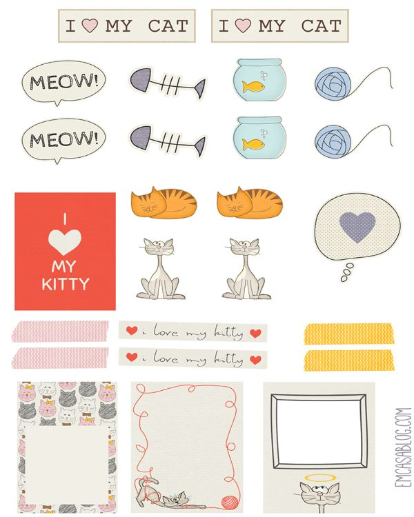 FREE printable cat planner stickers