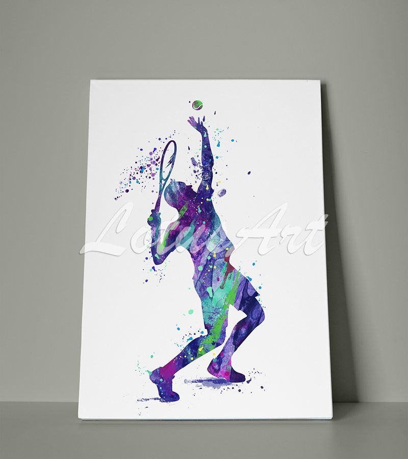 Boy Tennis Player Canvas Watercolor Art Print Sports Wall Art Home Decor Nursery Art Room Decor Painting Poster Gift Personalised Kids Team Sports Wall Art Watercolor Canvas Watercolor Art Prints