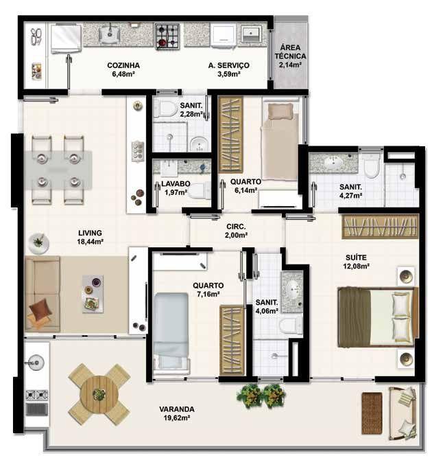 projeto apartamento 90m2 pesquisa google plantas de