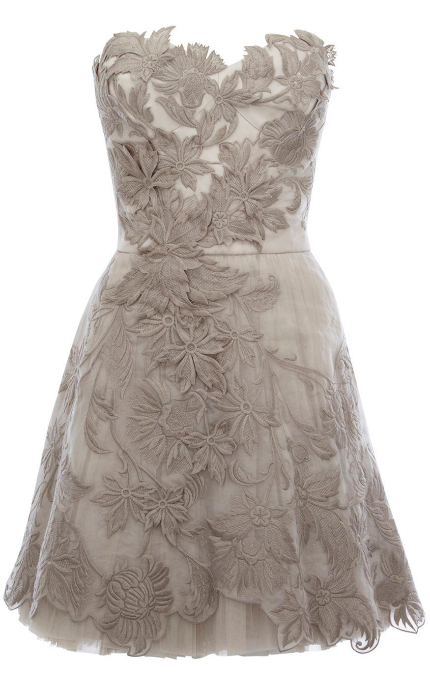 Karen Millen Romantic Embroidery Strapless Tutu Dress Silver