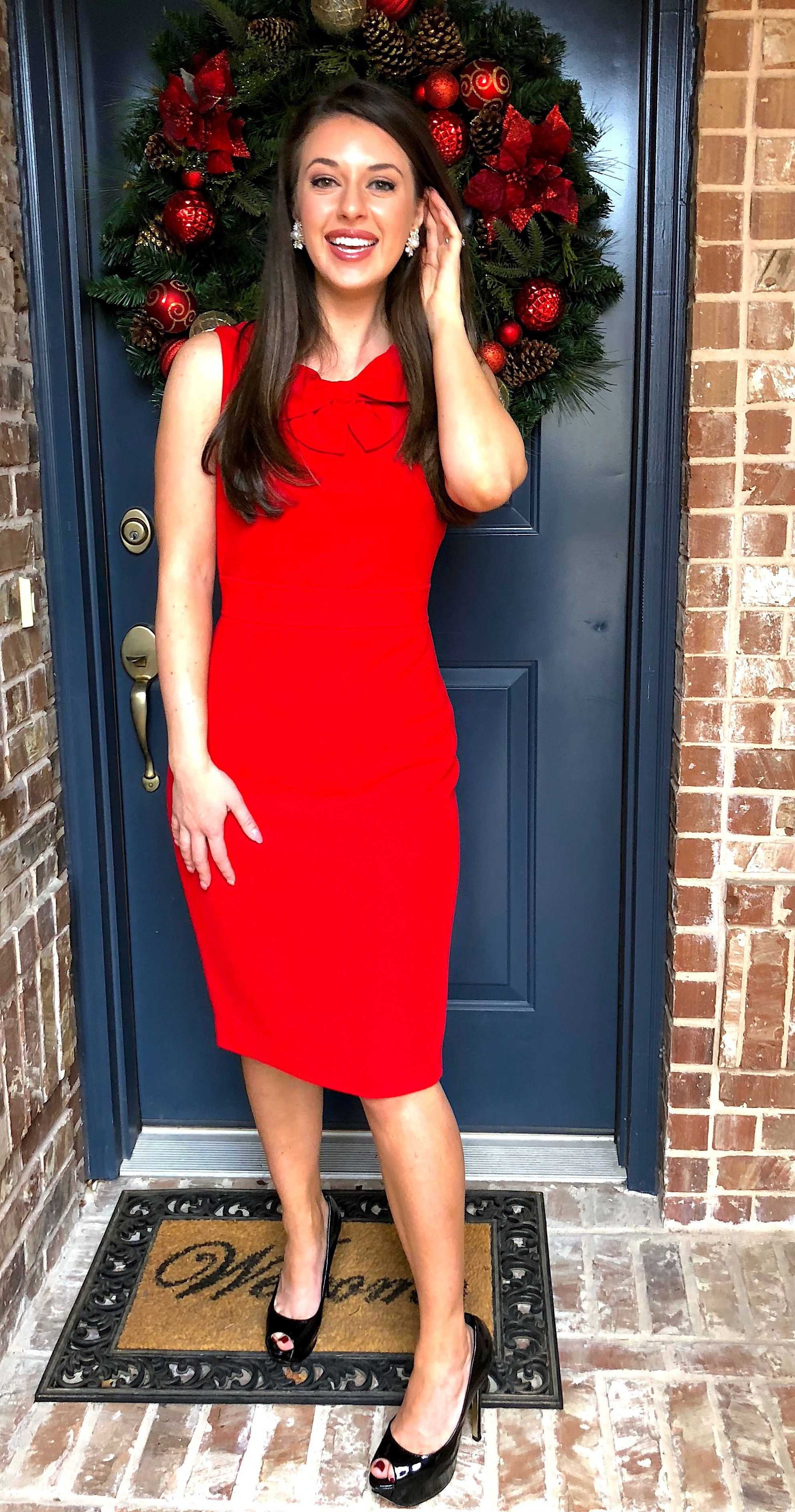 red bow dress is the perfect christmas dinner outfit