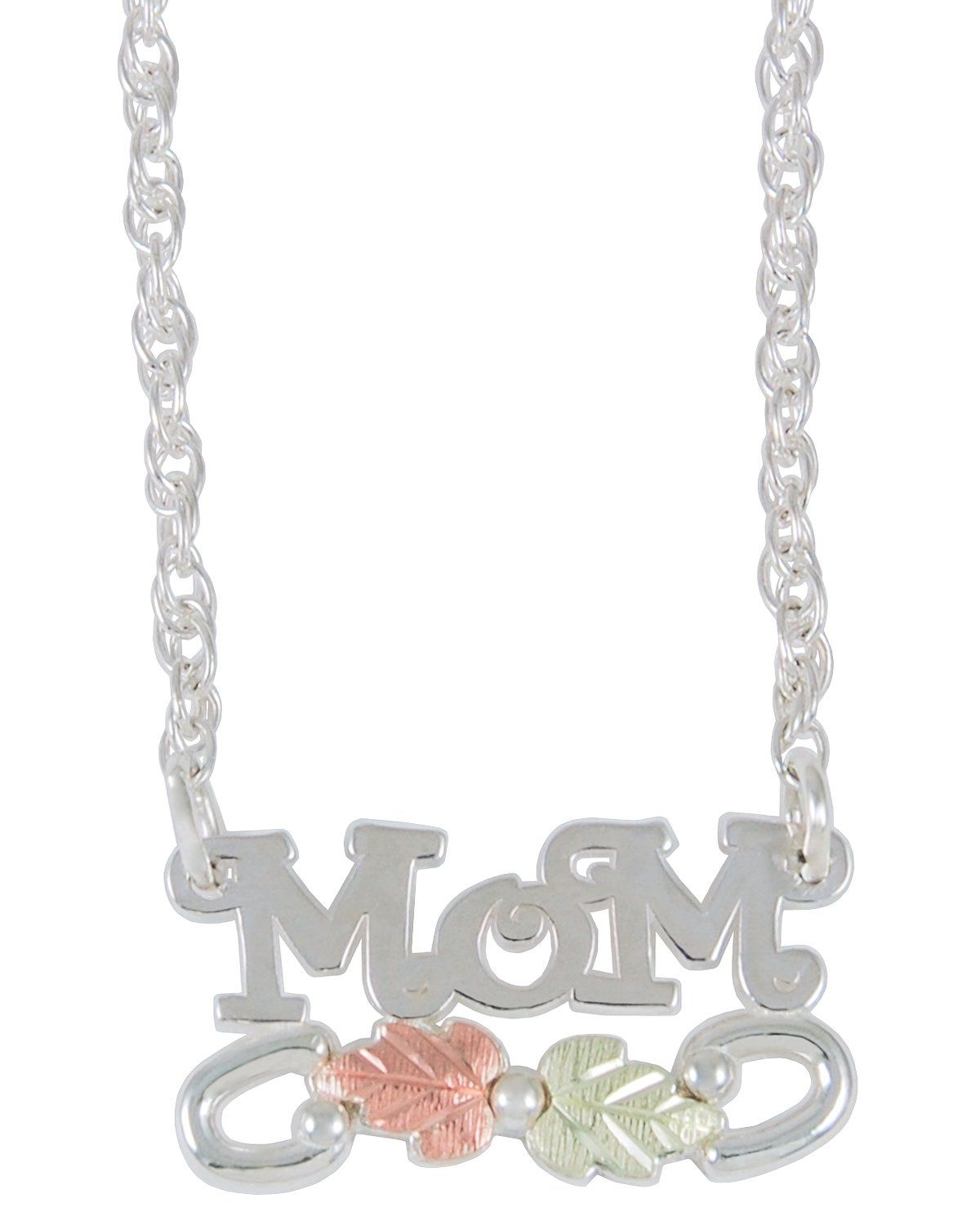 Mom Pendant Necklace Sterling Silver 12k Green and Rose Gold