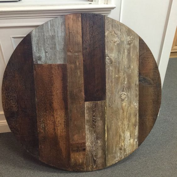 Multi Color Rustic Wood Variety Round Table Reclaimed Wood Round