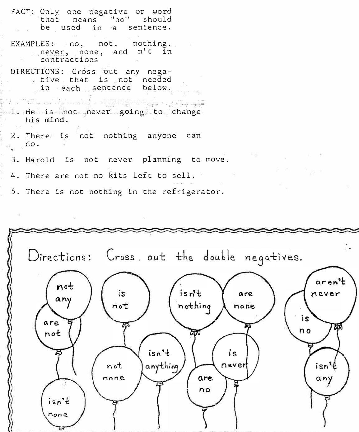 Double Negatives Grammar Sentences Words Negativity [ 1387 x 1154 Pixel ]