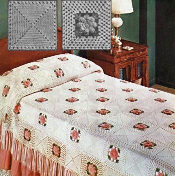 Rose Pattern Bedspreads | Rose Bower Bedspread Vintage Crochet ...