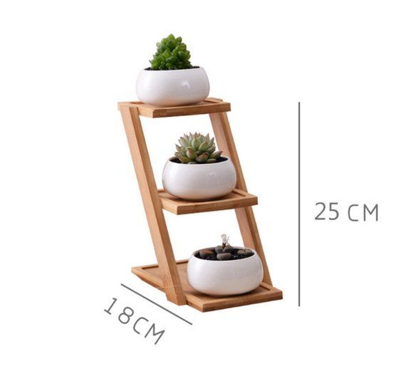 Succulent Planter Ceramic Planter Bamboo Planter Stand Ceramic Pot Mini Planter Airplant holder Home Decor Office Decor HP003