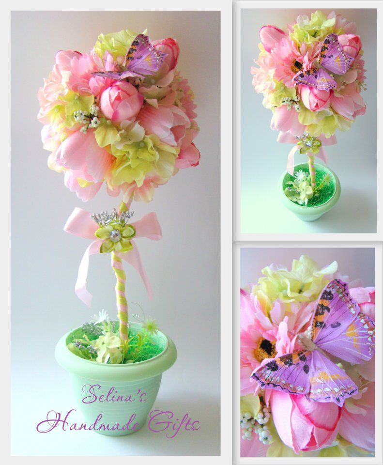 Handmade Home Decoration Mint And Rose Topiary Tree