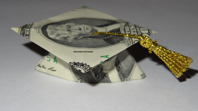 money origami graduation cap great gift wwwetsycom