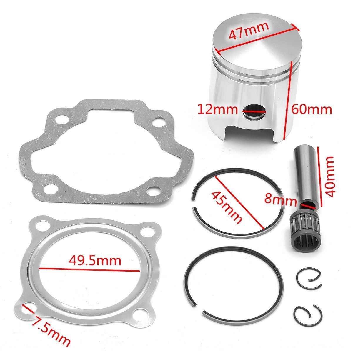 For Yamaha PW80 83-06 Engine Cylinder Piston Ring Head Gasket Kit 3E5-11631-00-97
