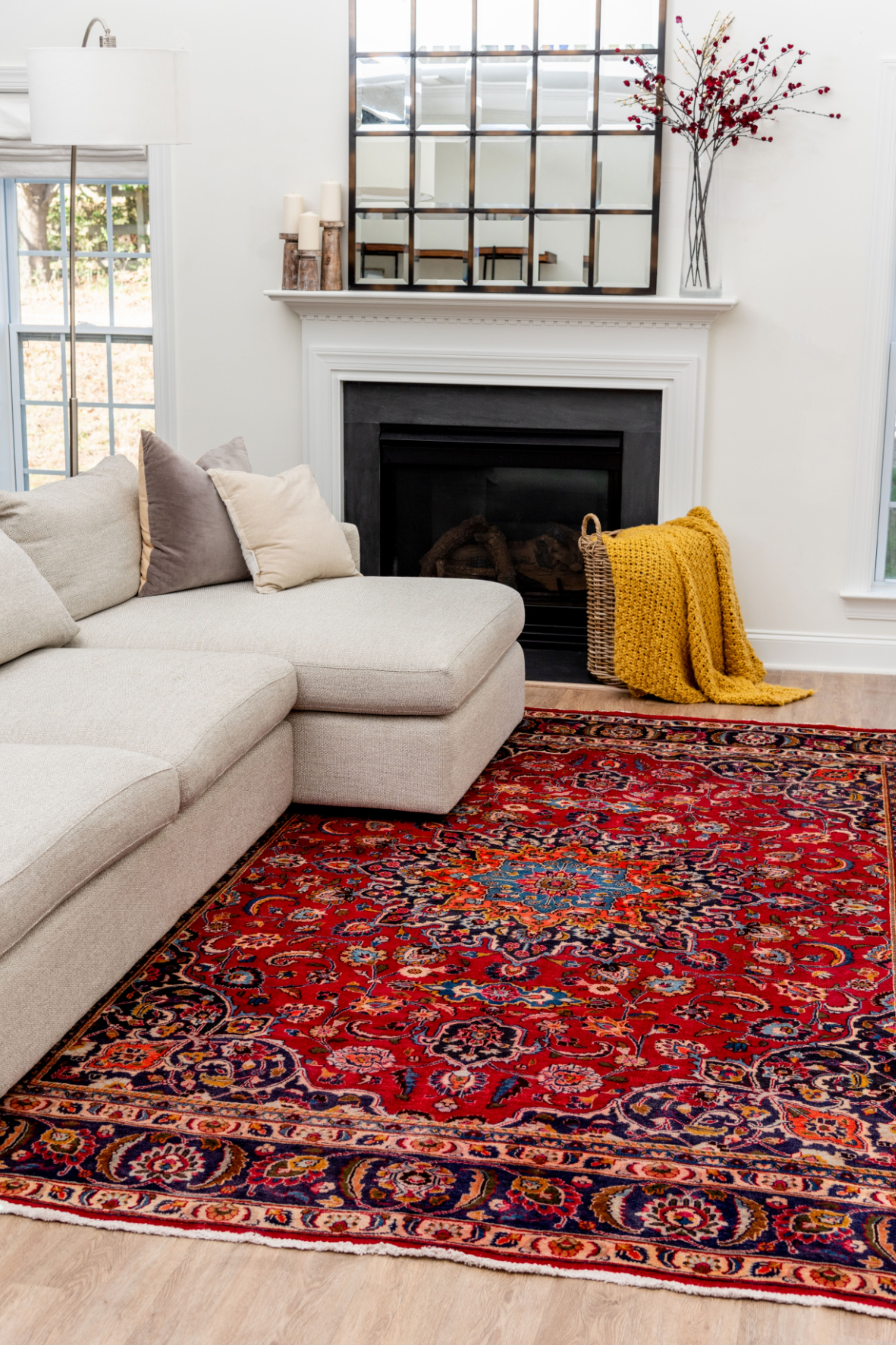 Cozy Up In Your Living Room With Our Mashad Persian Rug Cozy Livingroomdecor In 2020 Persian Carpet Living Room Persian Rug Living Room Red Persian Rug Living Room #red #persian #rug #living #room