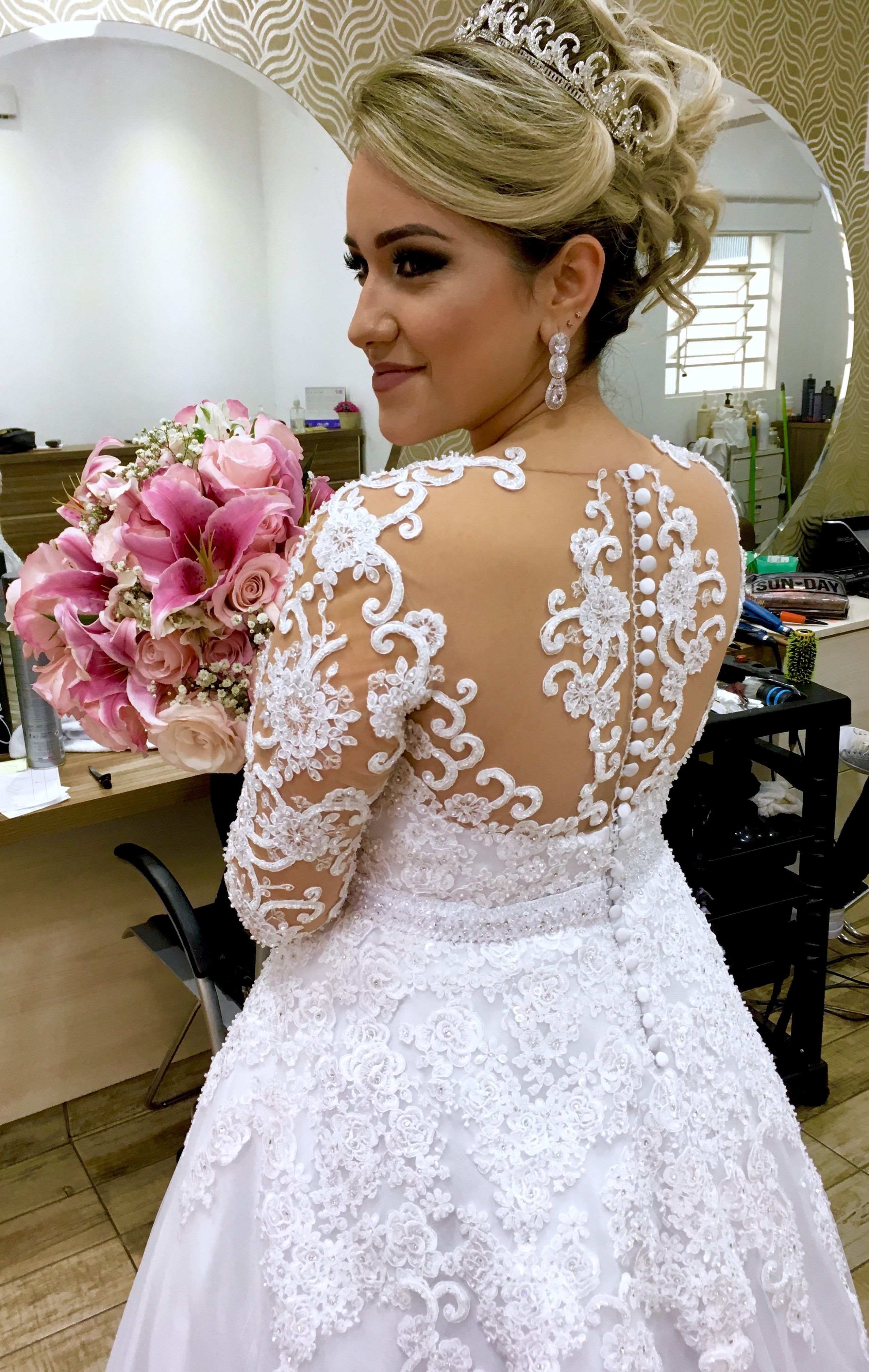 Bride dress back detail lace applications buttons transparency