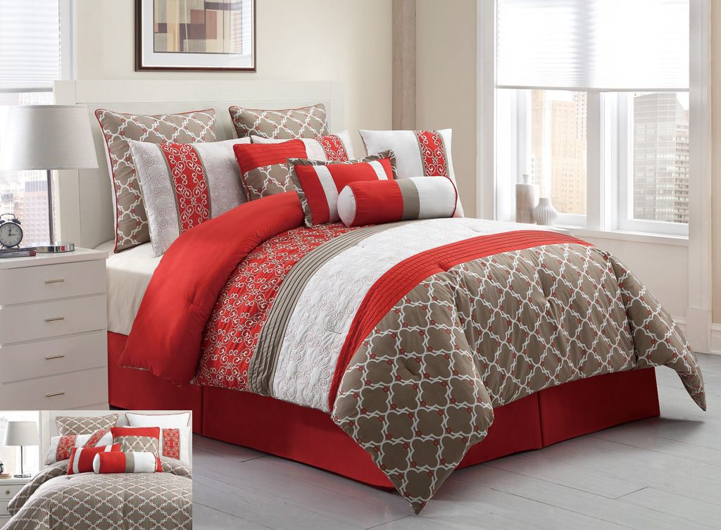 14 Piece King Amarta Coral And Taupe Reversible Bed In A