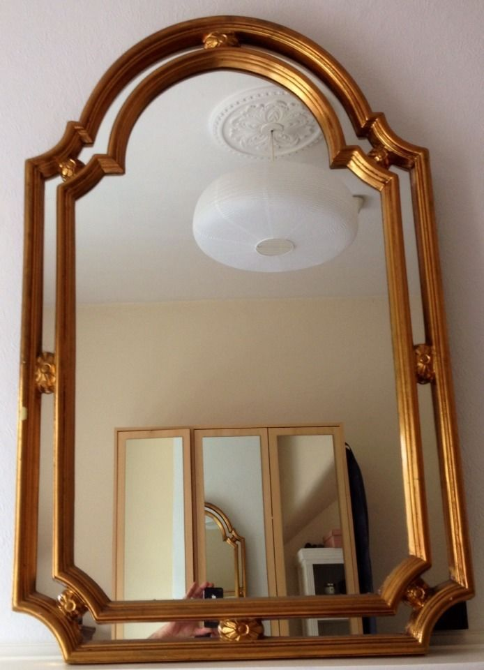 Large Regency Style Vintage Gold Gilt Arched Mirror With