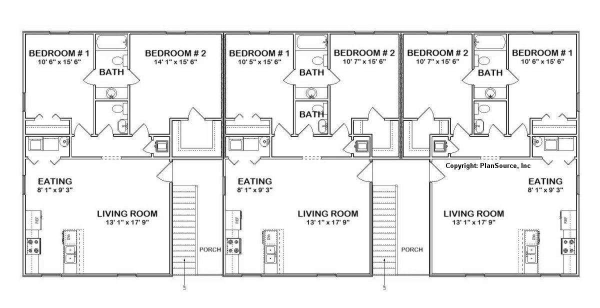 6 unit apartment plan | Multi-family - J0418-11-6 in 2019 ...