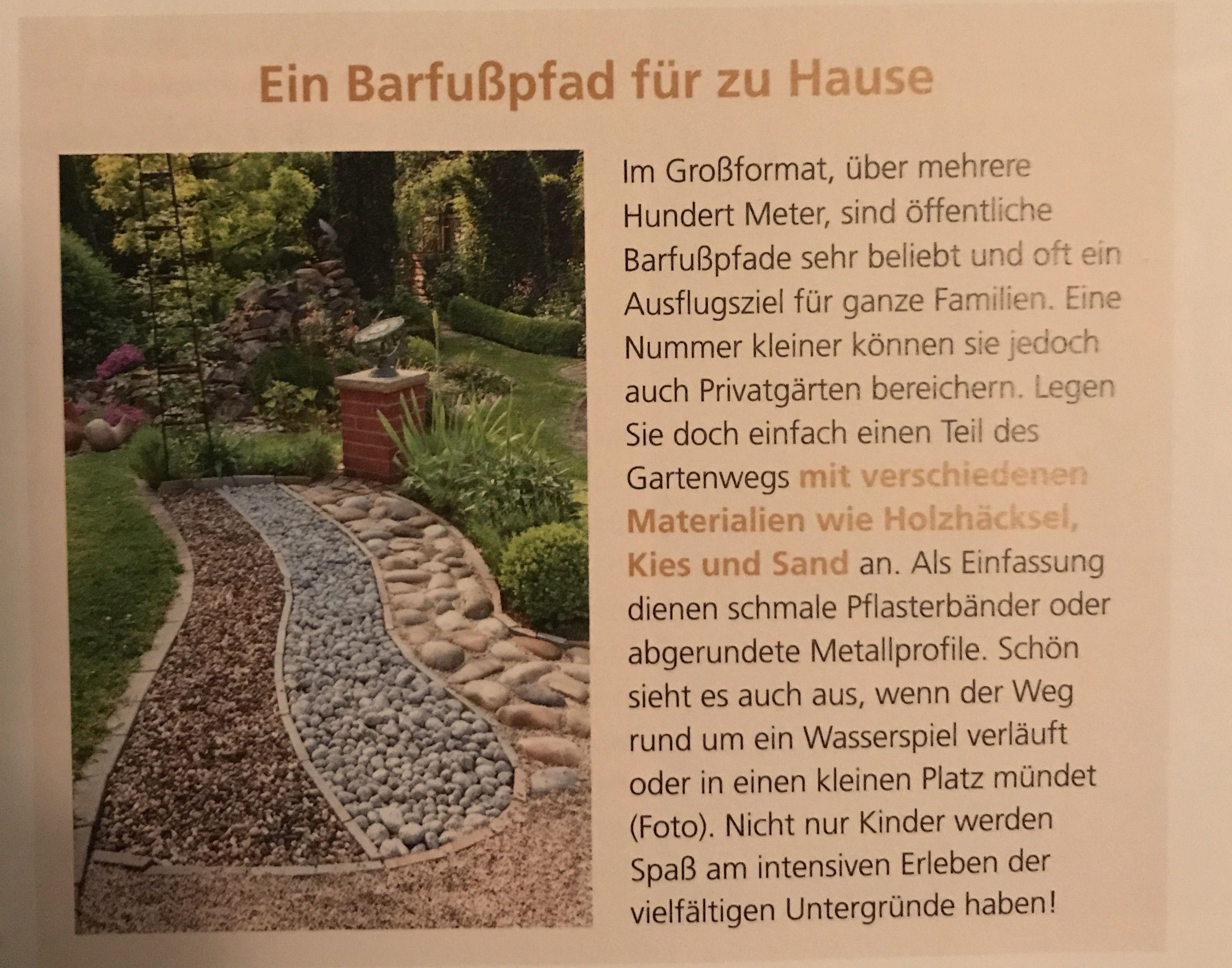 Coole Idee Ein Barfusspfad Fur Den Eigenen Garten Privatgarten Garten Pflanzen Garten