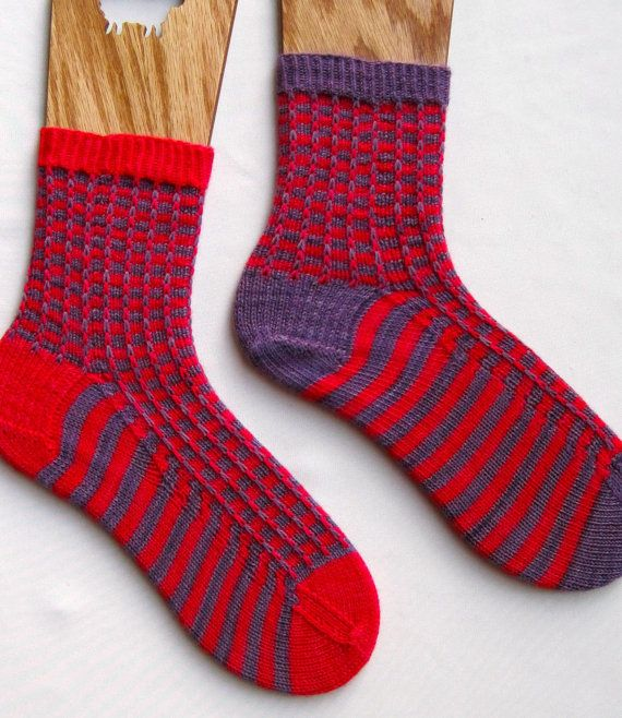 Knit Sock Pattern Easy Two Color by WearableArtEmporium on Etsy ...