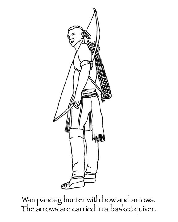 Thanksgiving Coloring Pages Wampanoag Hunter With Bow And Arrows