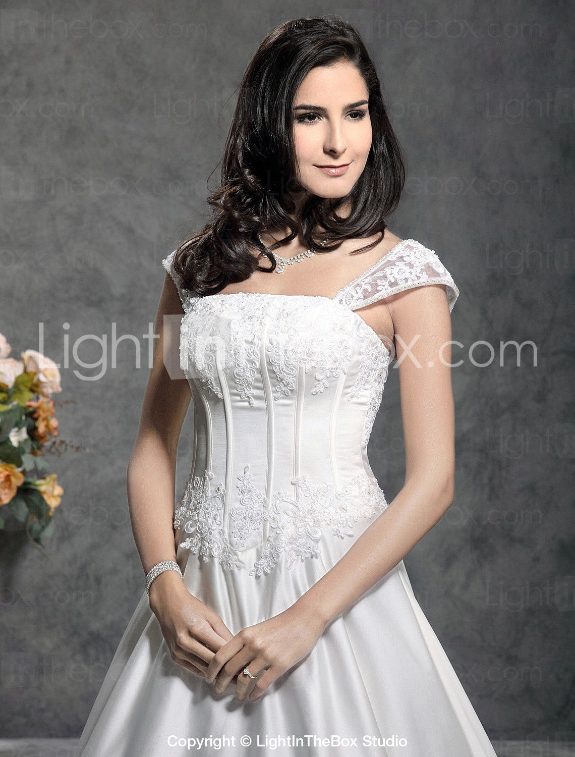 Lightinthebox wedding dresses  ALine Square Neck Floor Length Satin Wedding Dress with Sequin