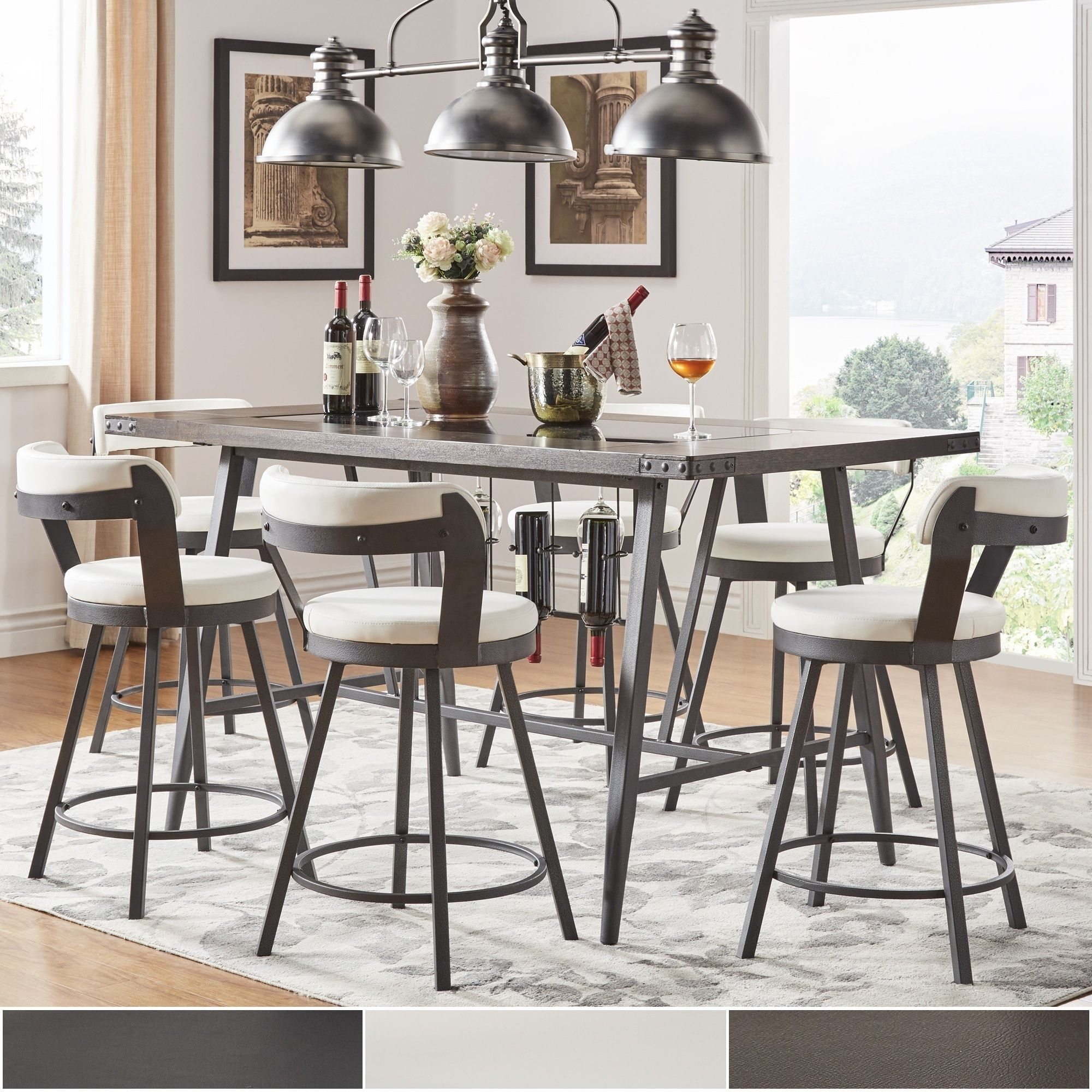 Harley Counter Height Dining Set with Wine Rack by iNSPIRE Q Modern  (5-Piece Set - Black), Size 5-Piece Sets