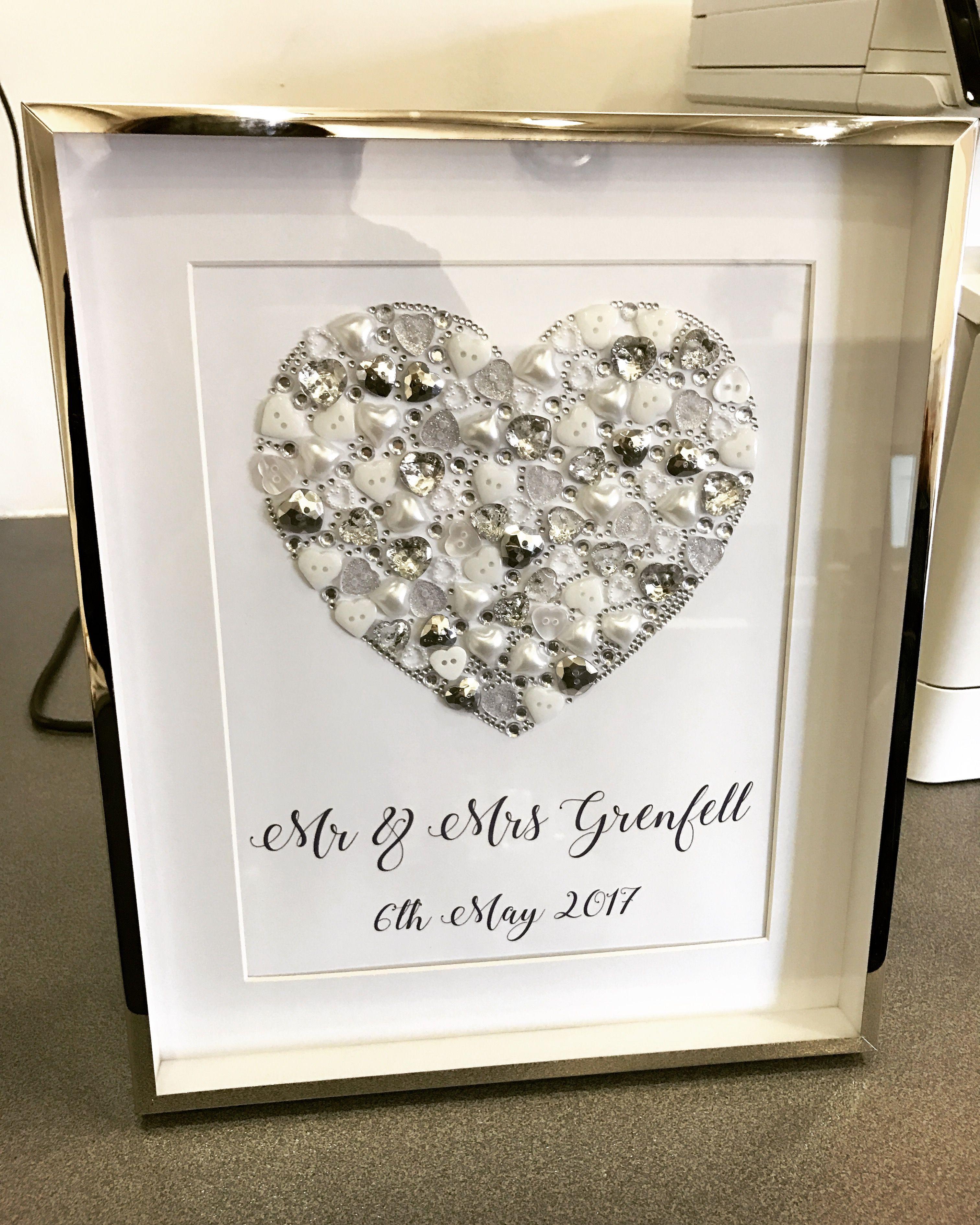 Wedding frame gift Heart silver frame Homemade Mr&mrs | Torijayne ...