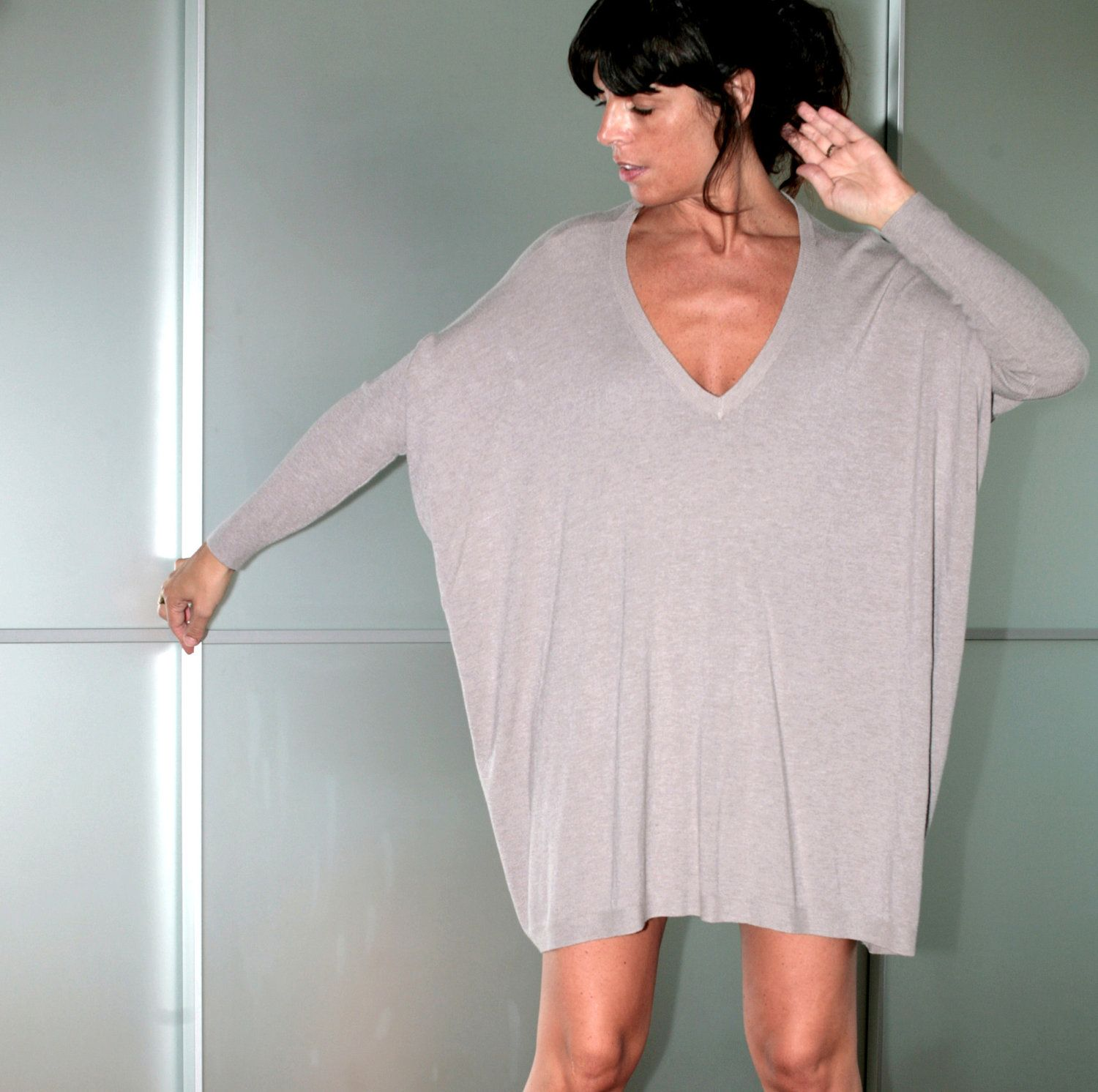 Beige Womens Oversized Silk And Viscose Sweater Dress Size M ...