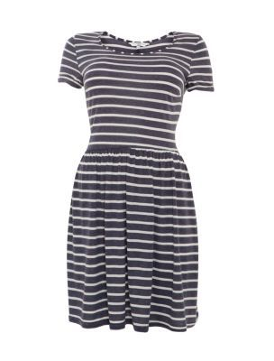 9a06f8cb6416 Blue and White Stripe T-Shirt Skater Dress New Look £7.00