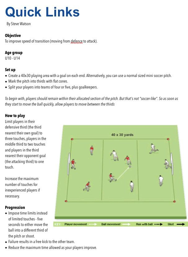 Quick Links Youth Soccer Drills Soccer Information Soccer Workouts