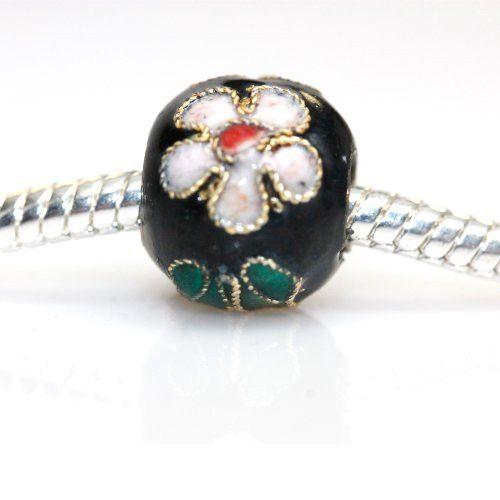 Gold, Green, Red , White & Black Cloisonne Charm European Bead Compatible for Most European Snake Chain Braceletss