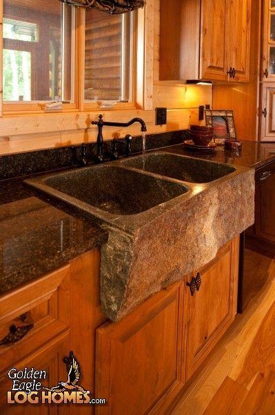 Log Home By Golden Eagle Log Homes Kitchen Apron Sink Lodge
