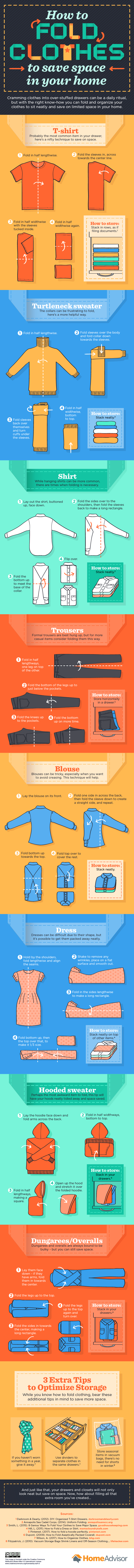 A Space Saving Way Of Folding Clothes Infographic Folding