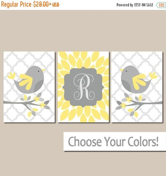 Yellow Gray Bird Nursery Wall Art, Canvas or Prints Baby Name Girl ...