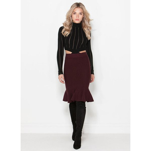 Give It Flare Trumpet Skirt BURGUNDY featuring polyvore, fashion, clothing and red