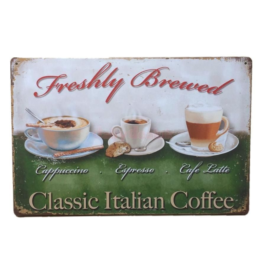 Vintage tin wall sign art work retro metal coffee poster cafe wall