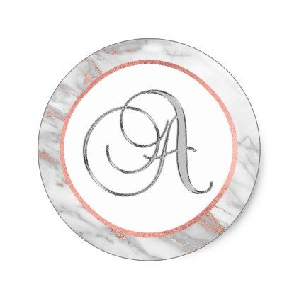 cbe3bdecd5 PINK ROSE Gold FOIL Marble Monogram LETTER  A  Classic Round Sticker -  monogram gifts unique design style monogrammed diy cyo customize