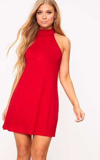 Red Jersey High Neck Swing DressFeaturing on trend high neck and super soft jersey fabric, this c...